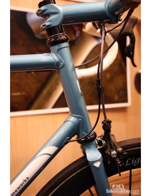 Somehow the mix of classic lugged construction on this Kirk Frameworks steel road racer and Shimano's Dura-Ace Di2 system looks just right.