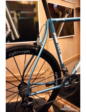 Kirk Frameworks' signature item is these curved seat stays. In theory, they should let the rear end flex up and down more than straight stays but regardless, they're beautiful to look at.
