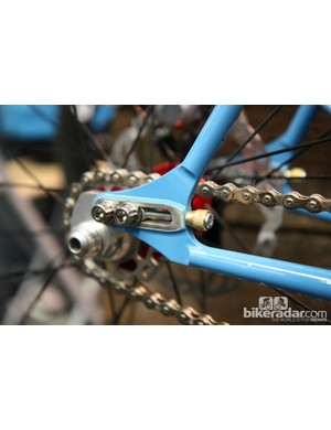 Slider dropouts on Tony Pereira's steel 29er allow for either geared or singlespeed use depending on the plate used.
