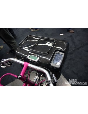 This custom carbon fiber box not only provides storage but also serves as a rolling dashboard on Tony Pereira's townie.