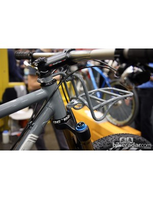 The custom rack on this Black Cat 29er is interesting enough but also check out the elegantly brazed-on down tube gusset.