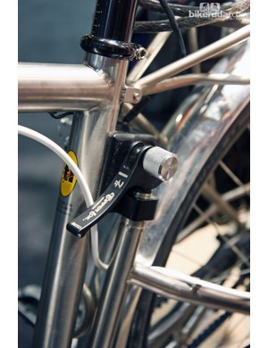 The quick release lever on Ti Cycles' clever 'experimental' bike locks the pivoting non-driveside stays in place.