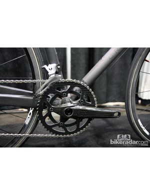 Crumpton's ultralight SL Road show bike was fitted with AX-Lightness cranks and carbon fiber chainrings