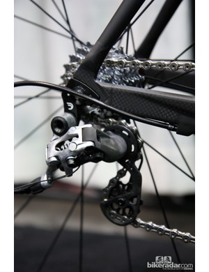 The SRAM Red rear derailleur is shaved to within an inch of its life on this ultralight Crumpton