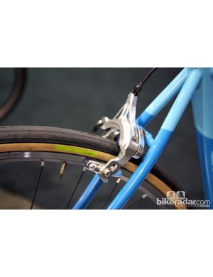 The fetching dual-pivot brakes on this Caletti all-road bike are made by Velo Orange
