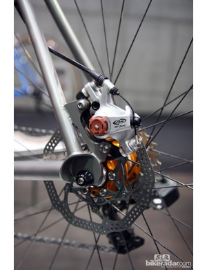 Caletti fitted disc brakes front and rear to this titanium 'cross bike