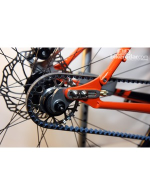 Slider dropouts with a split seatstay for belt compatibility on this Caletti singlespeed