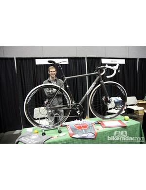 Matt Appleman stands proudly behind his NAHBS bike