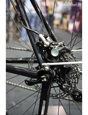 Disc brakes are fitted front and rear on this Castle all-road bike