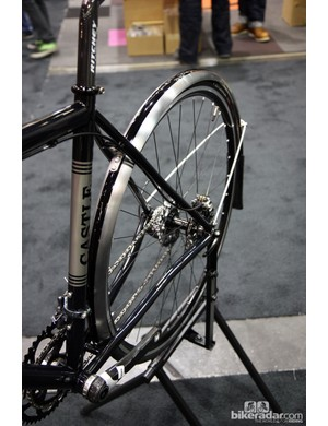 Castle Frameworks builder Eric Coury polished, masked and painted these fenders to match the rest of this all-road bike