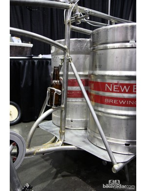 The main cargo shelf on the My Dutch Bicycle beer keg hauler is well supported - and there's a spot for an extra bottle of beer on the go