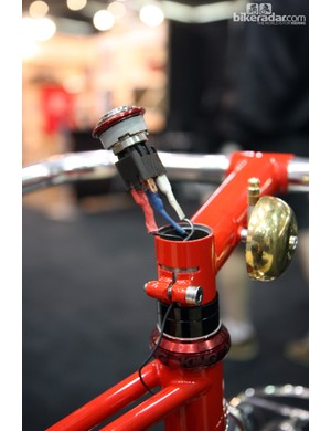The light switch is built into the steerer tube on this Chris Igleheart mixte