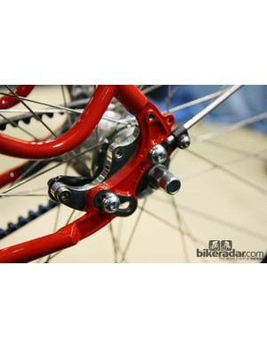Rocker rear dropouts on this Chris Igleheart frame also have provisions for racks and fenders