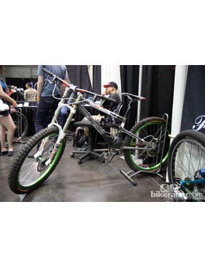 Bicycle Fabrications displayed this steel downhill bike, apparently with a new suspension design
