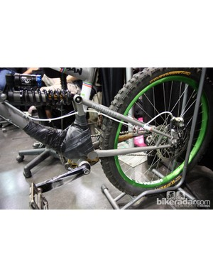 Bicycle Fabrications clearly didn't want show attendees to see what was going on in there. Remind us to bring an X-ray machine to next year's show