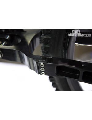 Dovetail joints on Risse Racing's Lassen downhill chassis allow for a modular rear end