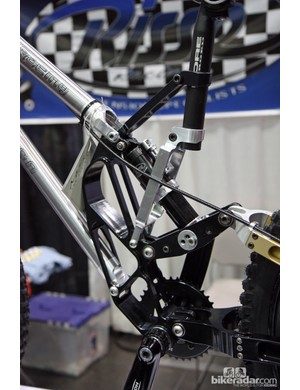 Check out the giant machined aluminum center section on Risse Racing's old Lassen downhill bike