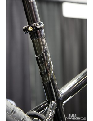 A little extra detail work on the extended seat tube of this Stinner Frameworks machine