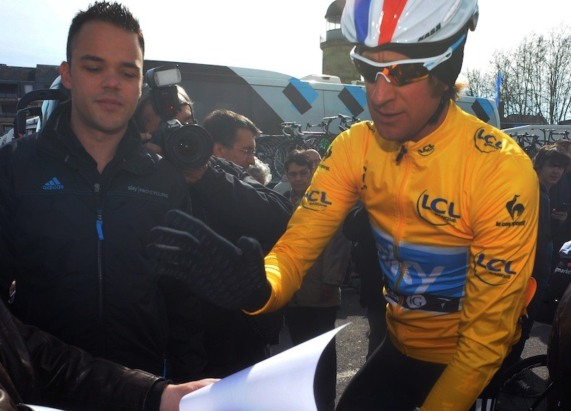 Wiggins narrowly held on to his leader's yellow jersey with three stages remaining