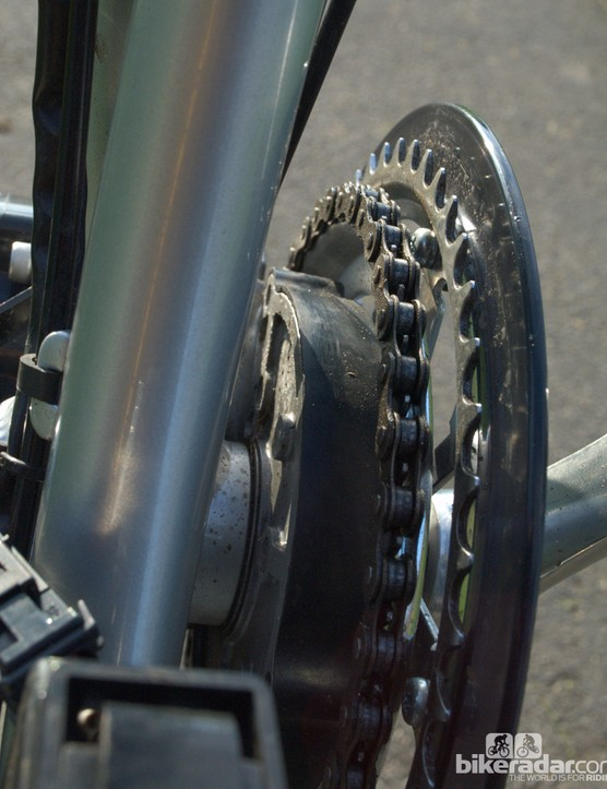 The torque sensor sits to the inside of the chainrings
