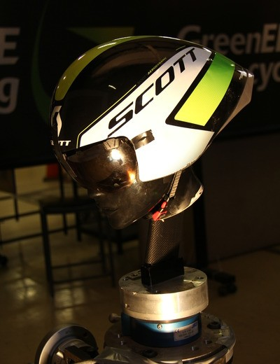 The helmet underwent testing in the wind tunnel with and without a rider