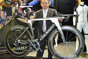 Ernesto Colnago shows off the new K.Zero time trial bike at the Taipei Cycle Show in Taiwan