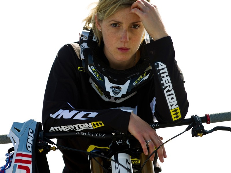 Rachel Atherton – back, in black