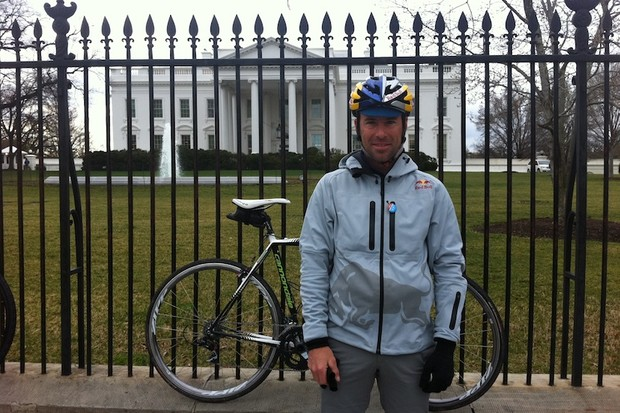 Tim Johnson from the 2011 Ride on Washington, at the gates of the White House