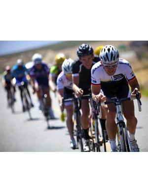 Karl Platt cranks up the pressure on the front during last week's Cape Rouleur