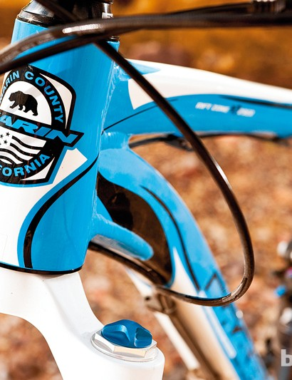 Short, tapered head tube keeps the Marin's front end low