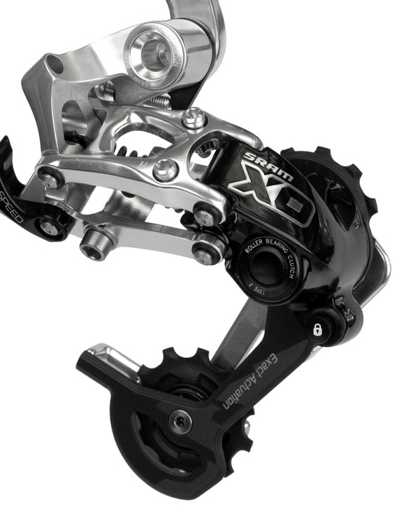 SRAM's X0 Type 2 rear derailleur will be available, in three cage lengths, multiple colors, and landing in stores in August.