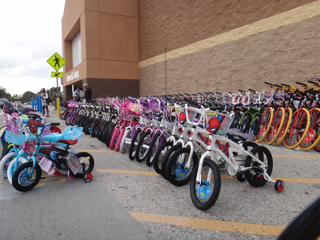 Kids bikes lined up outside Walmart in the US