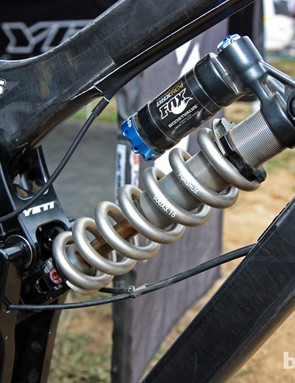 A Fox Racing Shox DHX RC4 rear shock is bolted to Jared Graves' new Yeti 303 Carbon downhill bike