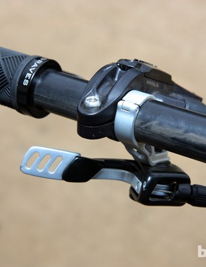 Fox's new DOSS dropper seatpost remote is mounted beneath the bar on Jared Graves' Yeti 303 Carbon downhill machine. Presumably, cross country riders will be able to mount the lever up top