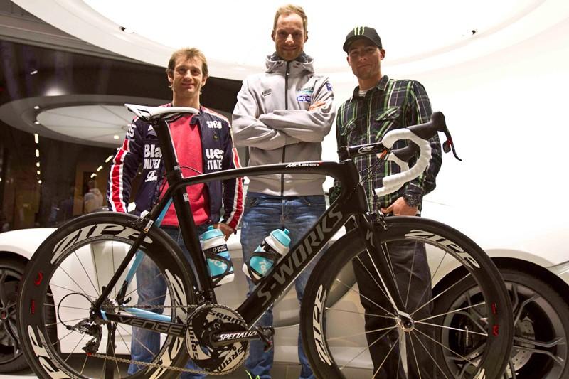 Tom Boonen with Formula 1 driver Jarno Trulli and MotoGP rider Ben Spies