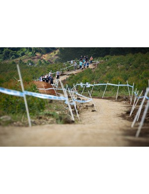 Inspecting the downhill course in Pietermaritzburg