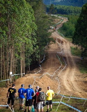 Inspecting the downhill course in Pietermaritzburg