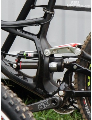 The FACT 11m-grade carbon fiber - Specialized's most advanced composite construction - wraps itself around a new RockShox Vivid Air downhill shock on Sam Hill's Monster Energy-Specialized Demo Carbon
