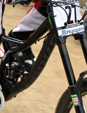 The new carbon fiber front triangle of Sam Hill's Monster Energy-Specialized Demo Carbon is expected to be both lighter and more rigid than the current aluminum version