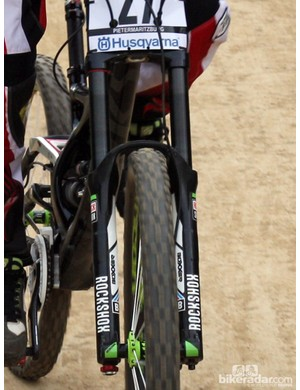 Also spotted on the front of Sam Hill's Monster Energy-Specialized rig is a new RockShox Boxxer with DLC-coated stanchions for smoother operation