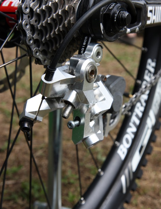 The look of Aaron Gwin's (Trek World Racing) prototype Shimano Saint Shadow Plus rear derailleur is admittedly a little rough but we expect production versions to look much sleeker