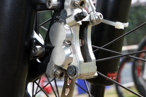 Gwin's prototype Shimano Saint brake calipers are attached with titanium bolts.