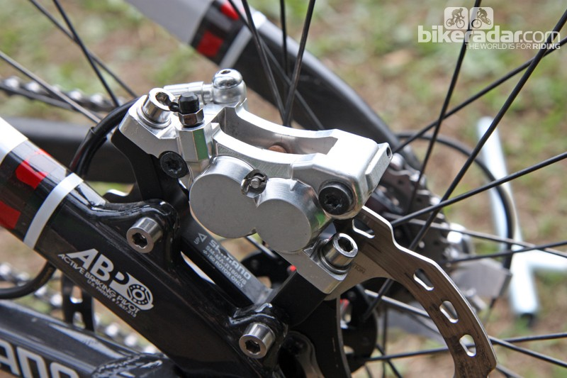The differential piston diameters on Shimano's revamped Saint four-piston caliper is expected to be both quiet and powerful