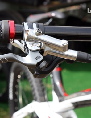 Aaron Gwin's (Trek World Racing) Shimano brake levers aren't marked but they're similar to the current XTR Trail models with a new tool-free reach adjust that differs from the consumer version. Note the texture on the lever blade, too