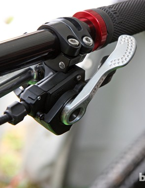 Trek World Racing team mechanic 'Monkey' Vasquez says Aaron Gwin's shifter pull lever is slightly shorter than normal for better access to the release lever
