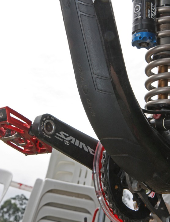 A big rubber plate guards the down tube of Aaron Gwin's (Trek World Racing) Trek Session 9.9 from rock impacts