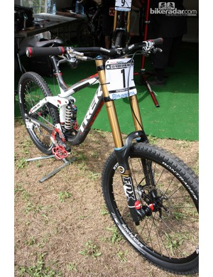 Aaron Gwin (Trek World Racing) wears the number one plate for the opening UCI World Cup round in Pietermaritzburg, South Africa