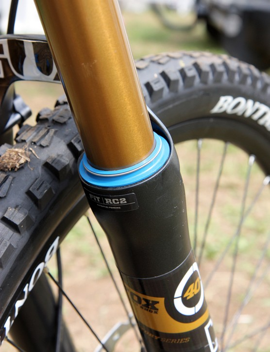 New bright blue seals are features on Aaron Gwin's (Trek World Racing) Fox Racing Shox 40 downhill fork