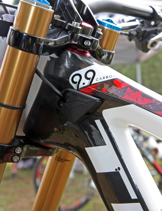 Stanchion stops are built into the tapered head tube on the Trek Session 9.9