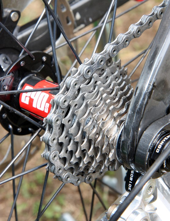 Aaron Gwin (Trek World Racing) is running a tight 12-23T Shimano Dura-Ace cassette on his Trek Session 9.9